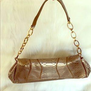 Handbags - Via Spiga gold chain strap clutch